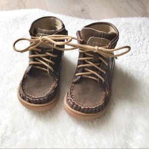 Livie & Luca Boys Brown Leather Boots Size 5